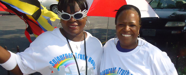Sojourner Truth House Program Services and Outreach  Assistant, Alice Dawson (left); and Social Worker for Homeless Clients, Pam Key (right)
