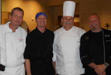 Among the celebrity chefs at the Nazareth Home event who donated their time and talent were (l-r) Tim Healy of Ameristar Casino, Carl Lindskog of Amoré Ristorante, Jack Mix of Comfort's Catering and Restaurant, and Randy Berg of Ciao Bella Ristorante.  Not pictured: Angela McCovitz of Angela's Pantry and Jim Latsoudis of Atlas Catering and the Jury Box