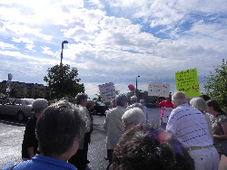 "An enthusiastic crowd greets the ""Nuns on the Bus."""