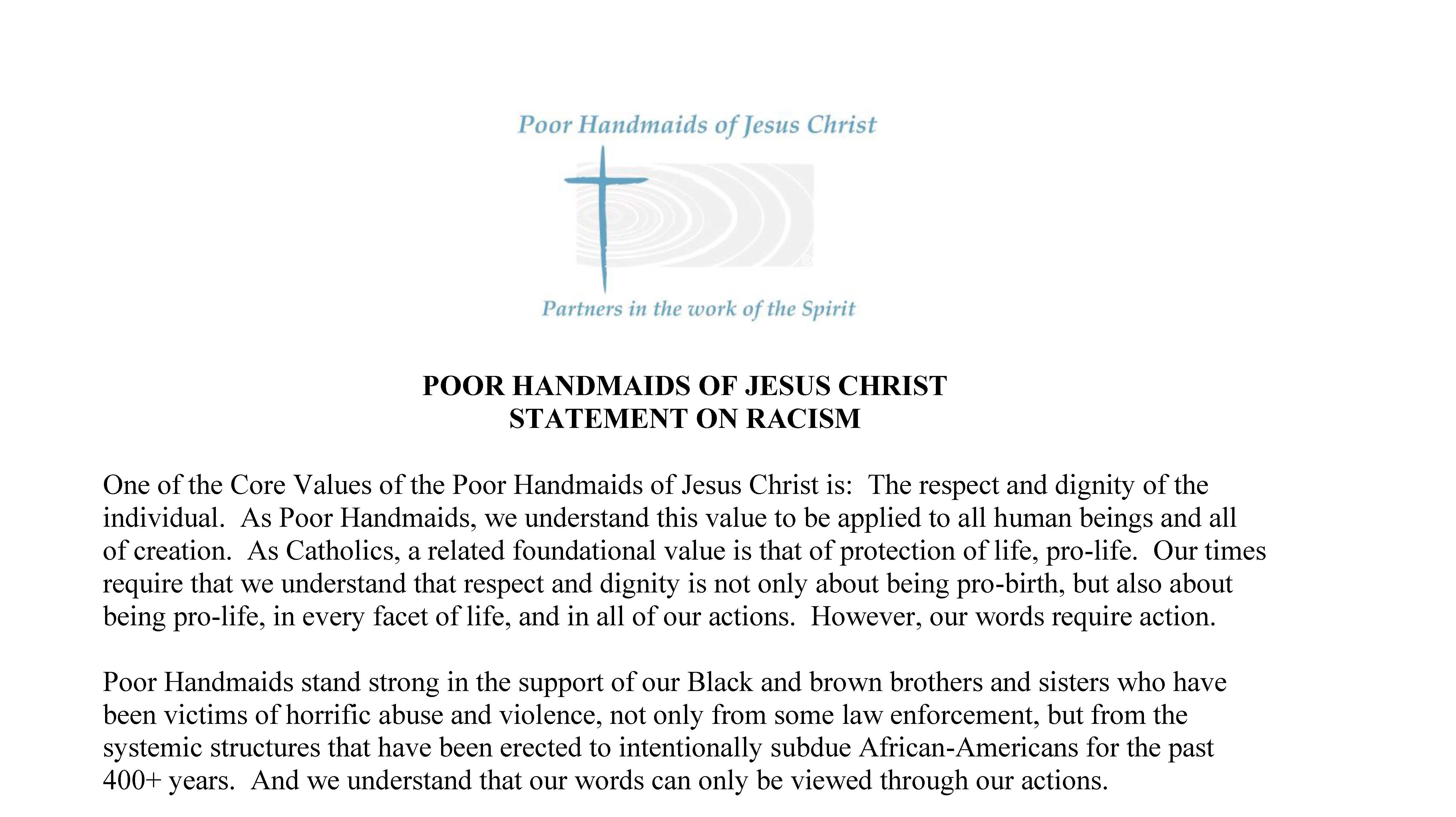 PHJC Statement on Racism